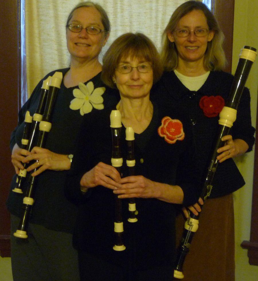 The Fleurs de Chanson recorder trio performs at the Oak Park Arms retirement community