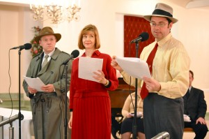 "Those Thrilling Days of Yesteryear perform ""When Celebrities Collide"" at the Oak Park Arms retirement community."